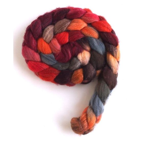 Pumpkin and Persimmon on Polwarth/Silk Roving2