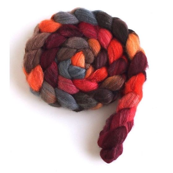 Pumpkin and Persimmon on Polwarth/Silk Roving4