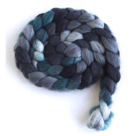 Grey and Teal on Superwash Merino/ Nylon