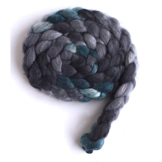 Grey and Teal - Superwash BFL Wool/ Nylon-4
