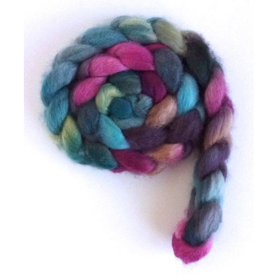 Aqua and Amethyst - BFL Wool Spining Roving-2