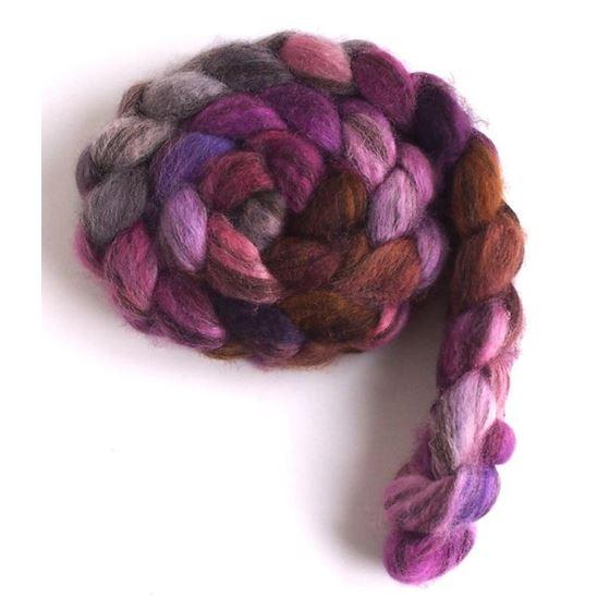 Violet Penumbra on Mixed BFL Wool Roving,