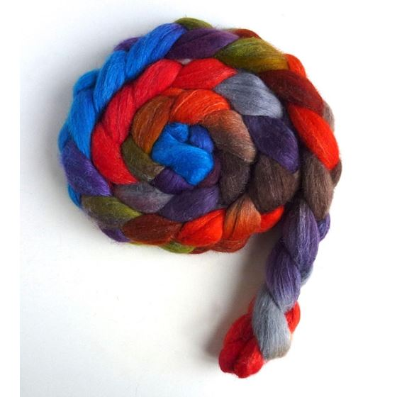 Zinnias During Dusk - Polwarth/Silk Roving-4