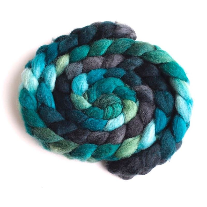 Shadows and Conifers on BFL Wool Roving 1