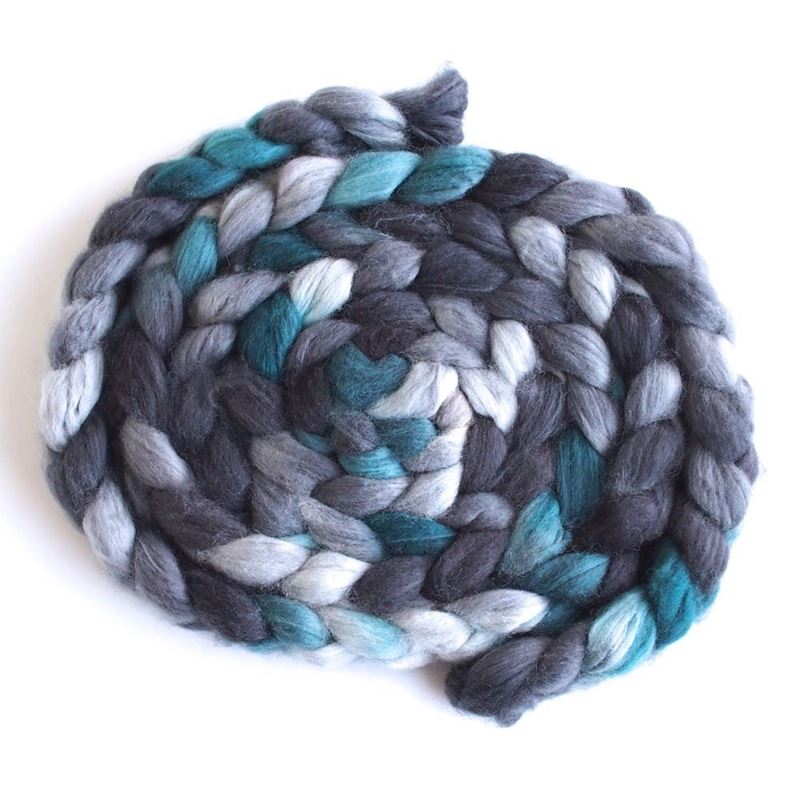 Grey and Teal on Superwash Merino/ Nylon Roving