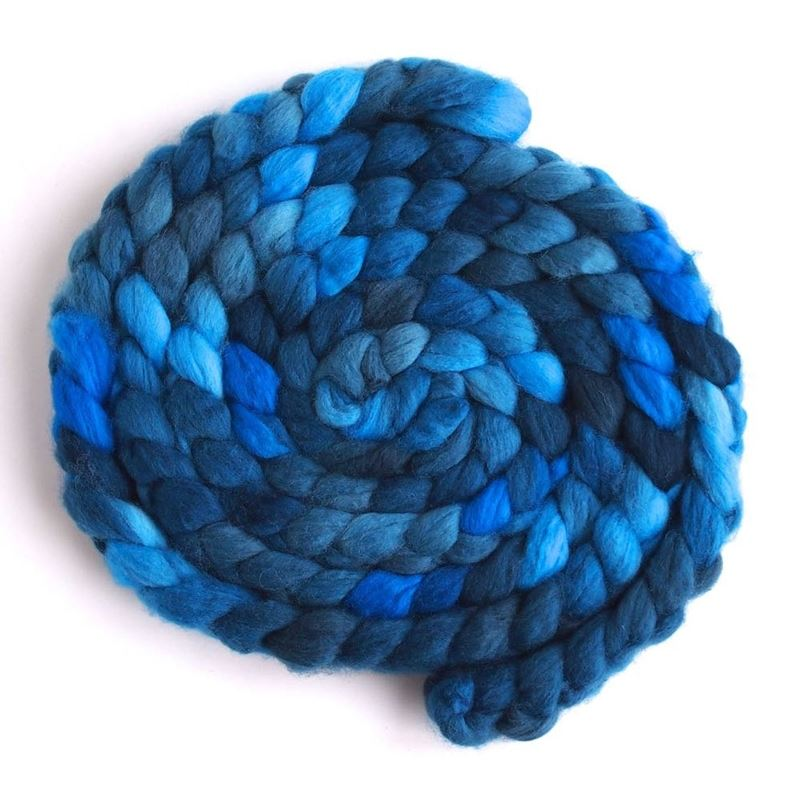 Riveting Blue on Superwash Merino/ Nylon Roving1