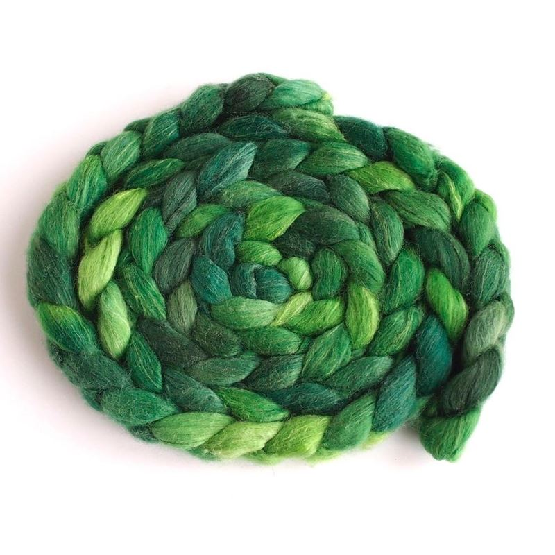 Green Gallery on Polworth/Silk Roving