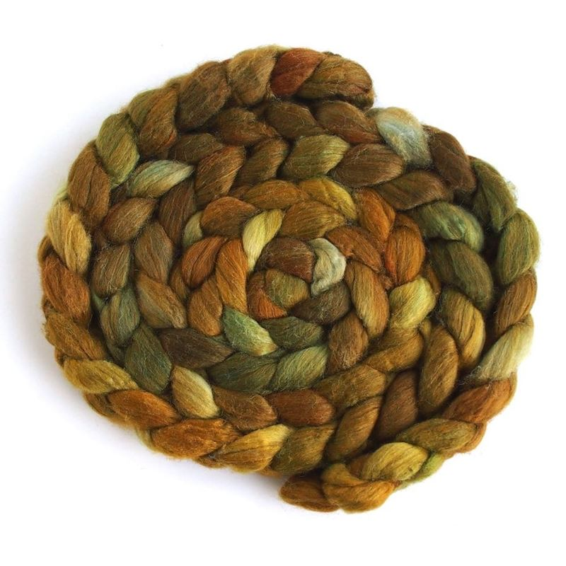 Brass Pot on Superwash Merino/ Silk Roving-1