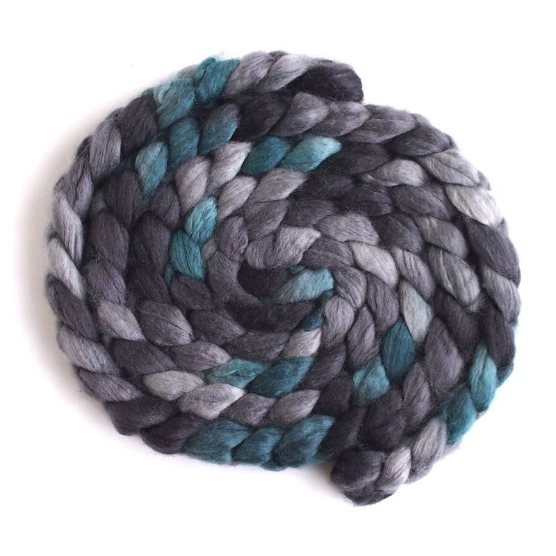 Grey and Teal - Superwash BFL Wool/ Nylon-1