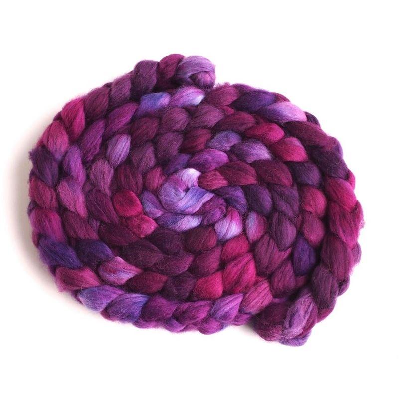 Flag Violet on Superwash Merino/ Nylon Roving