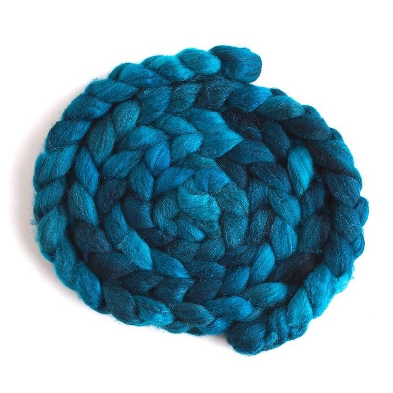 Aqua Dusk on Polwarth/Silk Roving1